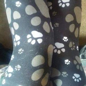 Pants - One Size Brown Paw Print Leggings